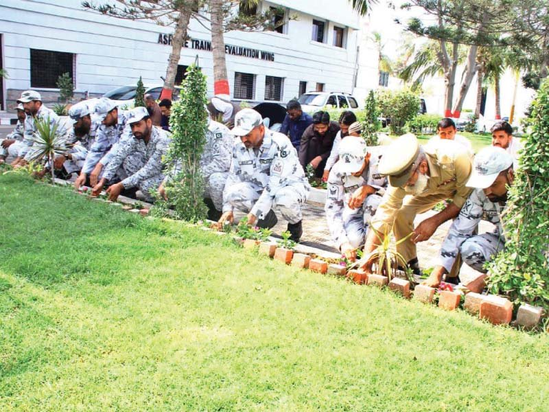 Pakistan Navy celebrates World Ocean Day today. Officials from Pakistan Navy had also planted saplings at PN Dockyard, in observance of on World Environment Day on June 5. PHOTO: EXPRESS