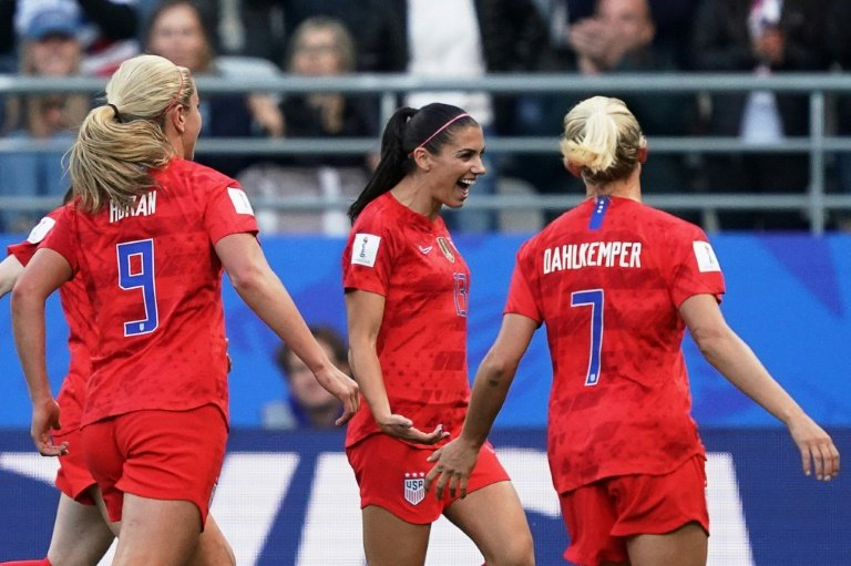 Alex Morgan starred with five goals, Rose Lavelle and Samantha Mewis netted twice each and Lindsey Horan, Megan Rapinoe, Mallory Pugh and Carli Lloyd also got on the scoresheet in an embarrassingly one-sided Group F encounter watched by more than 18,000. PHOTO: AFP