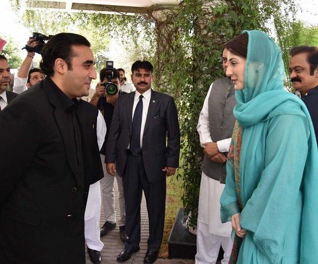 PML-N Vice President Maryam Nawaz Sharif greets PPP Chairman Bilawal Bhutto Zardari on his arrival at Jati Umra on Sunday. PHOTO: EXPRESS