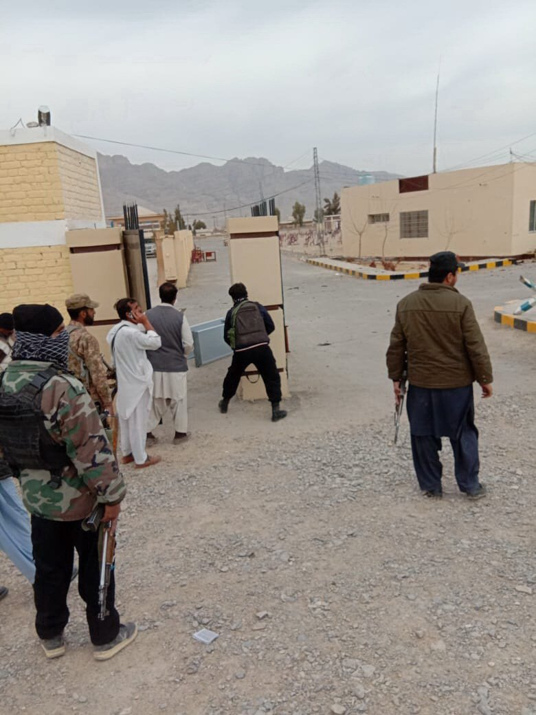 Security officials at the attack site in Loralai district of Balochistan on Tuesday. PHOTO: BANARAS KHAN/EXPRESS