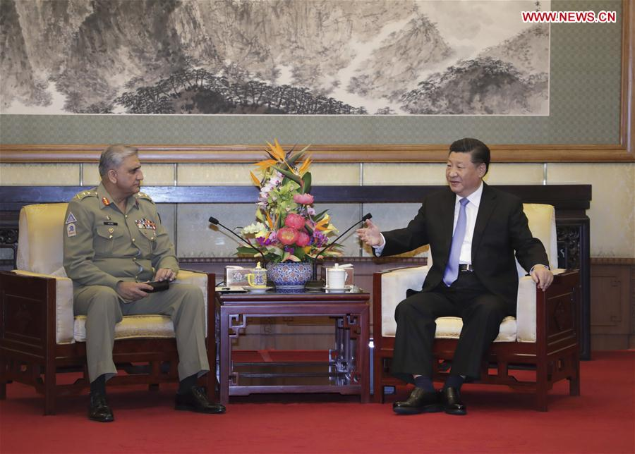 A file photo of COAS General Qamar Javed Bajwa in a meeting with Chinese President Xi Jinping. PHOTO: XINHUA