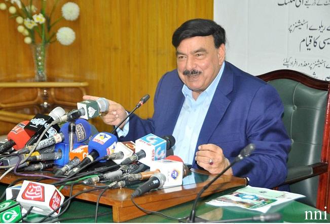 Sheikh Rasheed addresses media in Lahore. PHOTO: NNI