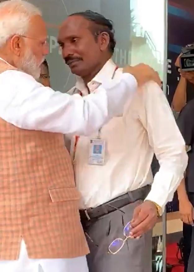 Indian Prime Minister Narendra Modi with ISRO Head Scientist K Sivan. PHOTO: SCREENGRAB