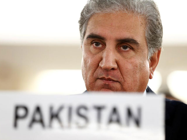 Foreign Minister Shah Mehmood Qureshi addresses the United Nations Human Rights Council in Geneva, Switzerland, September 10, 2019. PHOTO: REUTERS