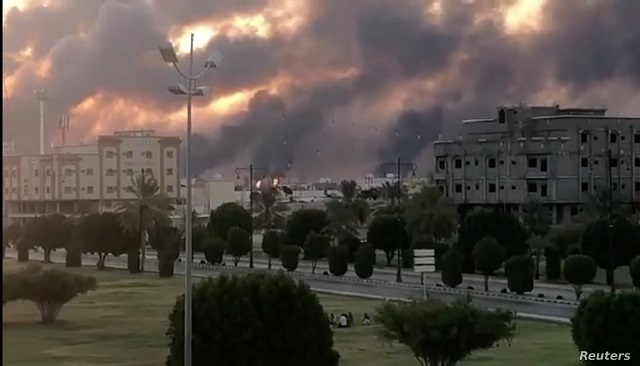 Smoke is seen following a fire at an Armco factory in Abqaiq, Saudi Arabia. Photo: Reuters