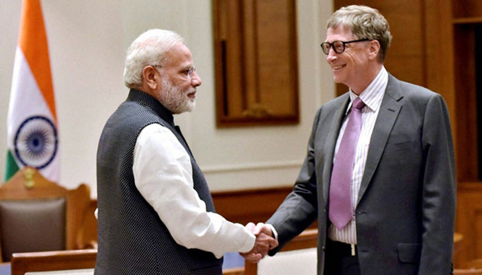 A file photo of a meeting between Microsoft founder Bill Gates and Indian PM Narendra Modi.