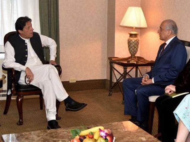 PM Imran meets Zalmay Khalilzad in New York. PHOTO: Radio Pakistan
