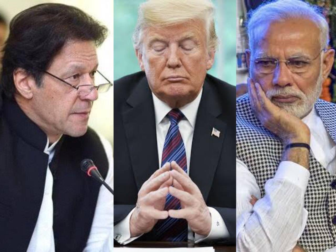 PM Imran Khan [L], US President Donald Trump [C] and Indian PM Narendra Modi [R].
