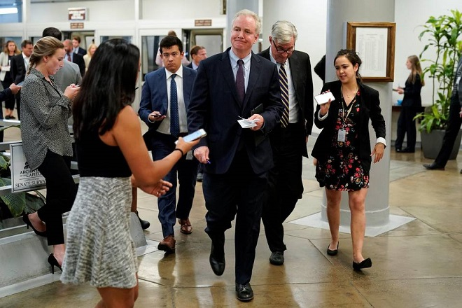 Senator Chris Van Hollen speaks to reporters as he arrives for a vote on Capitol Hill. Photo: Reuters/FILE