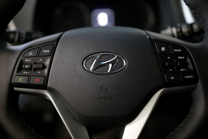 The logo of Hyundai Motor seen on a steering wheel. PHOTO: REUTERS