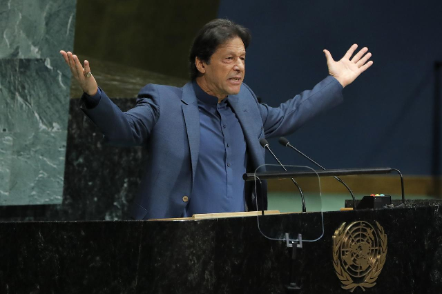 Prime Minister Imran Khan's speech at the 74th session of the United Nations General Assembly in New York. PHOTO: REUTERS