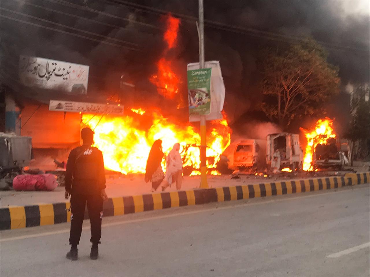 Explosion site in Quetta. PHOTO: EXPRESS
