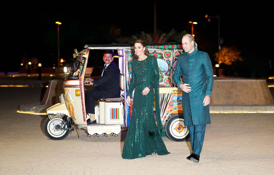 Britain's Prince William and Catherine, Duchess of Cambridge, arrive to attend a reception hosted by the British High Commissioner to Pakistan in Islamabad. PHOTO: REUTERS