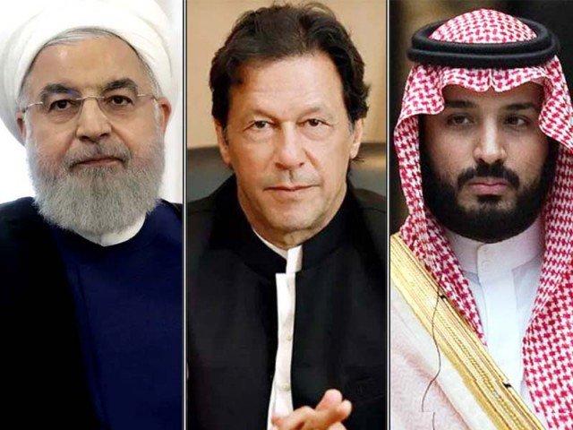 Iranian President Hassan Rouhani (left), Prime Minister Imran Khan and Saudi Crown Prince Mohammed bin Salman. PHOTO: FILE