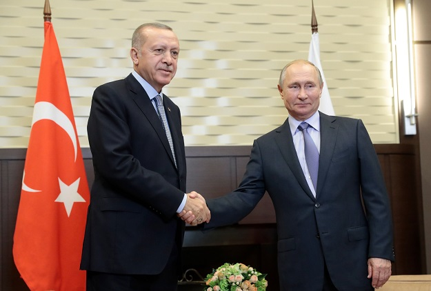 Russian President Vladimir Putin meets with his Turkish counterpart Recep Tayyip Erdogan in Sochi. PHOTO: AFP
