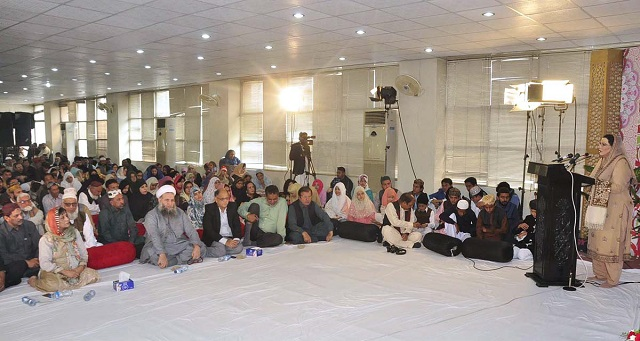 Special Assistant to the Prime Minister for Information and Broadcasting, Dr Firdous Ashiq Awan addresses on the eve of Annual Naat competition at Bukhari Auditorium Radio Pakistan. PHOTO: APP