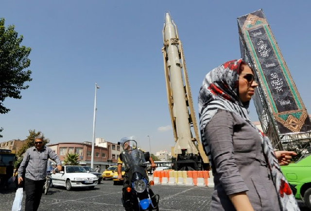 A  Shahab-3 surface-to-surface missile is on display in a Tehran street exhibition by Iran's Revolutionary Guards in September 2019 marking the anniversary of the Iran-Iraq War. PHOTO: AFP