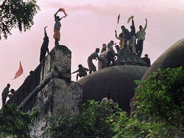 Babri Masjid being demolished. PHOTO: FILE