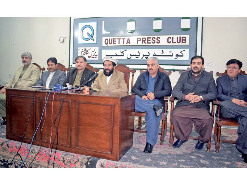 Provincial leaders address a joint news conference at Quetta Press Club. PHOTO: EXPRESS