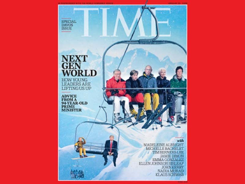 The illustration shows the country's premier on chairlift with Swiss Alps in the background.PHOTO: TIME MAGAZINE