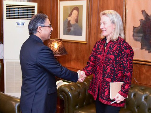 Alice Wells meets Foreign Secretary Sohail Mahmood at the Foreign Office in Islamabad on Tuesday. PHOTO: MOFA