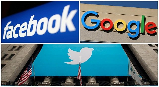 Facebook, Google and Twitter logos are seen in this combination photo from Reuters files. PHOTO: REUTERS