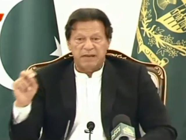 PM Imran briefs media. SCREENGRAB