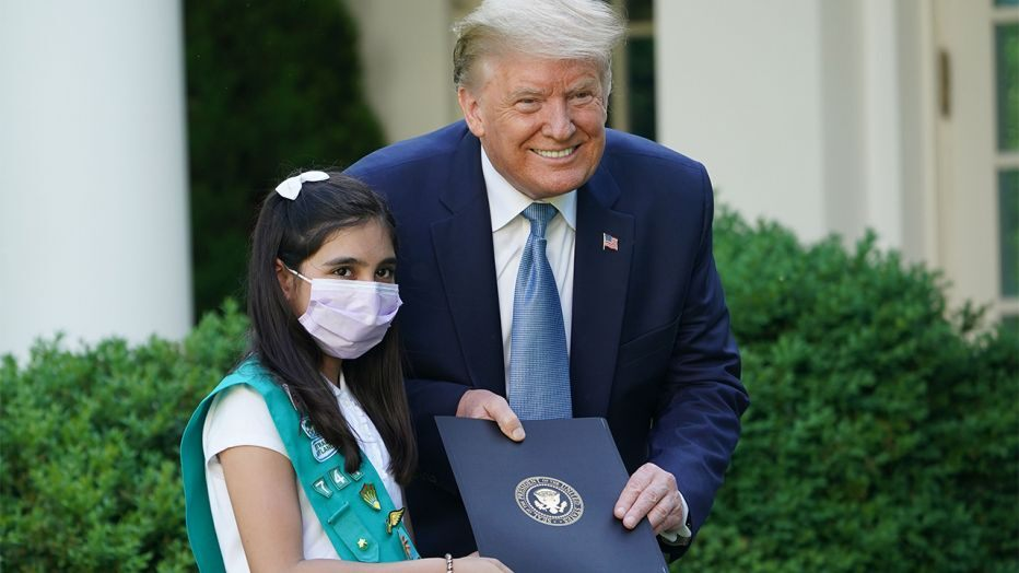 Laila Khan, a 10-year-old Pakistani American girl scout, recognised by President Trump. Photo: Courtesy US Embassy Islamabad Twitter account/AFP