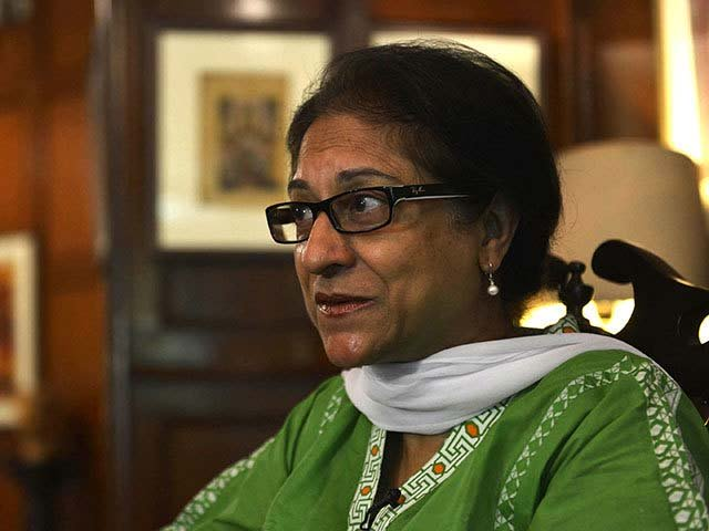 Leading human rights activist and Supreme Court lawyer Asma Jehangir gestures as she gives an interview to AFP in Lahore. PHOTO: AFP