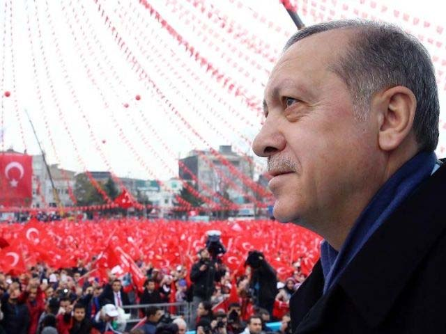 In this Saturday, March 11, 2017 file photo, Turkey's President Recep Tayyip Erdogan addresses his supporters during a rally for the upcoming referendum in Istanbul. PHOTO: AP