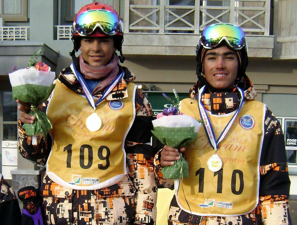 Noor Muhammad (L) won the gold medal and Shah Hussain (R) won the silver medal at the skiing event.