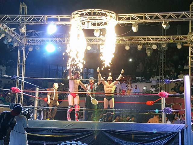The Pro Wrestling Entertainment (PWE) show in Lahore was not only one of the first pro-wrestling events in Pakistan's history, but it was a show that featured a truly international roster; PHOTO: IGN PAKISTAN