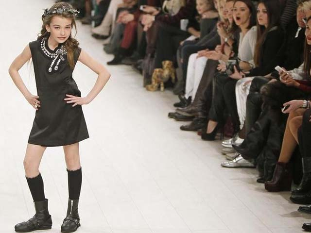 A model presents a creation by Ukrainian designer Viktor Anisimov during Ukrainian Fashion Week in Kiev. PHOTO: REUTERS