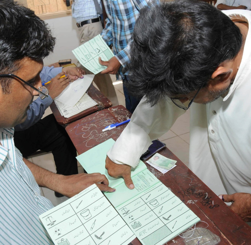 However, voting for Karachi's seven constituencies will continue till 8pm. PHOTO: RASHID AJMERI