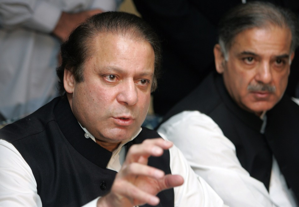 File photo of PML-N Chief Nawaz Sharif and brother Shahbaz Sharif. PHOTO: TMN/FILE