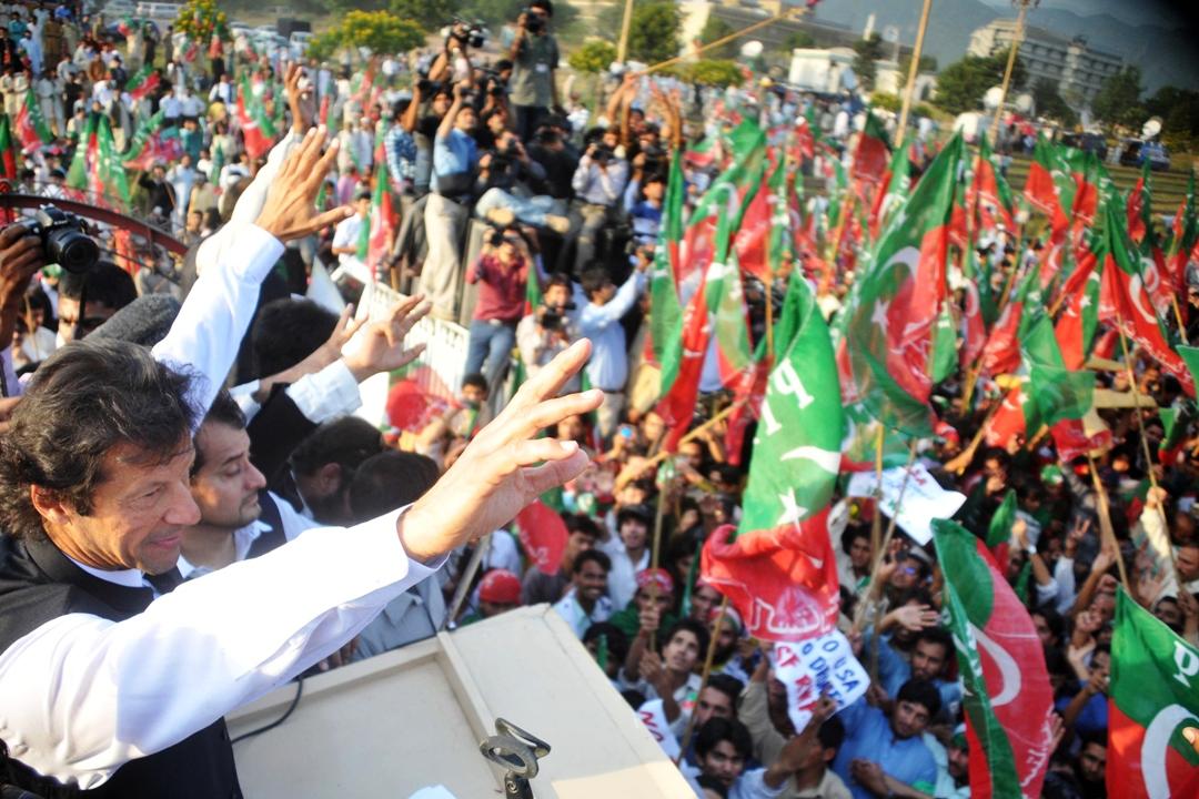 PTI chairman addressing a rally. PHOTO: QASIM USMAN/FILE