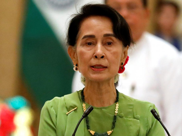 Myanmar State Counselor Aung San Suu Kyi talks during a news conference with India's Prime Minister Narendra Modi in Naypyitaw, Myanmar September 6, 2017. PHOTO: REUTERS