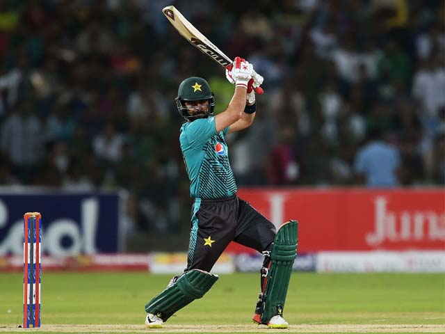 Ahmed Shehzad slaps one square, Pakistan v World XI, 3rd T20I, Independence Cup 2017, Lahore, September 15, 2017. PHOTO: AFP