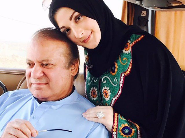 Maryam lashed out at the political opposition as well as the personal foes of her father. Nawaz stayed mum on account of his wife's health. PHOTO: twitter.com/MaryamNSharif