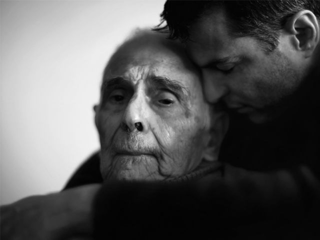 "Photographer Phillip Toledano hugs his father in a photo from his book, ""Days With My Father"". PHOTO: PHILLIP TOLEDANO/FLAKPHOTO"