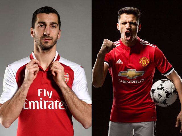(L): Arsenal Unveil New Signing Henrikh Mkhitaryan at London Colney on January 22, 2018 in St Albans, England. (R): Alexis Sanchez of Manchester United poses after signing for the club at Old Trafford on January 22, 2018 in Manchester, England. PHOTOS: GETTY