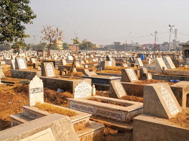 For a majority of tombstones, the text is trilingual – Arabic, Urdu and English. PHOTO: EXPRESS