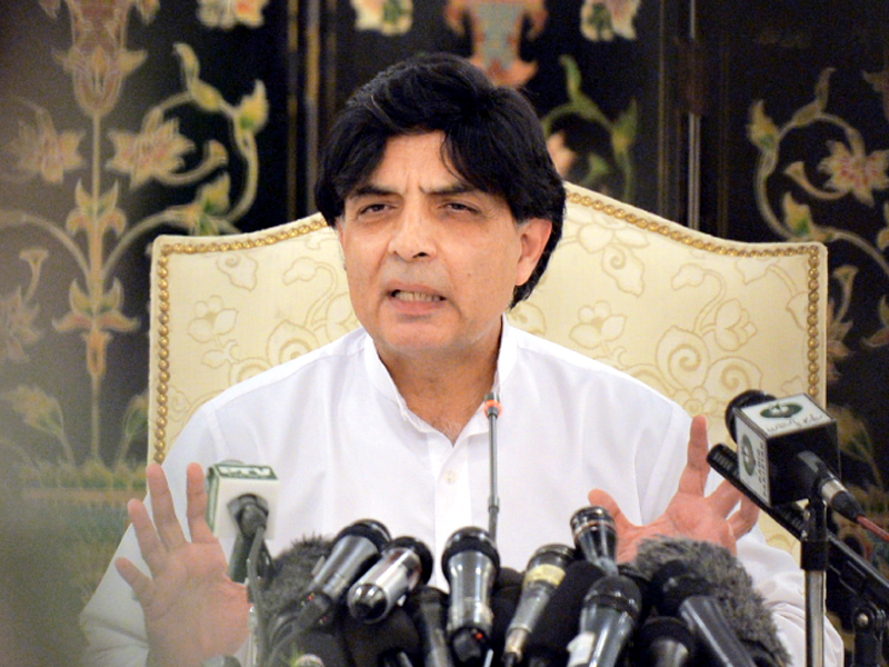 Interior Minister Chaudhry Nisar speaks during a news conference in Islamabad. PHOTO: AFP/FILE