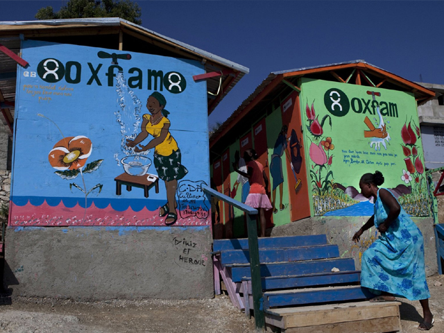 A latrine project led and financed by Oxfam at a camp in Port-au-Prince, Haiti in January 2011. PHOTO: GETTY