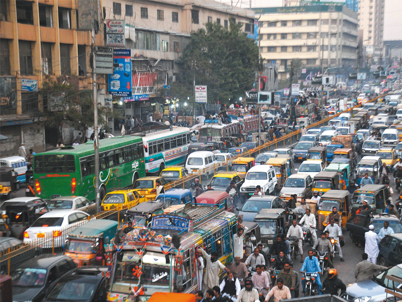 Traffic volume data for the paper, 'Estimation of Traffic Congestion Cost - A Case Study of a Major Arterial in Karachi', was collected at nine different points along the stretch from the airport to the Steel Mill junction. PHOTO: FILE
