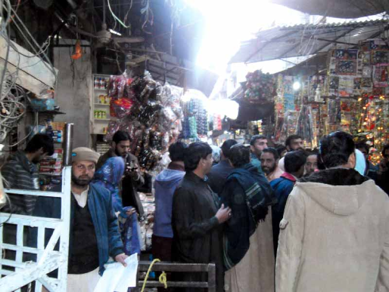The already narrow streets of the bazaar have been encroached by shopkeepers and vendors. PHOTO: KASHIF ABBASI/ EXPRESS