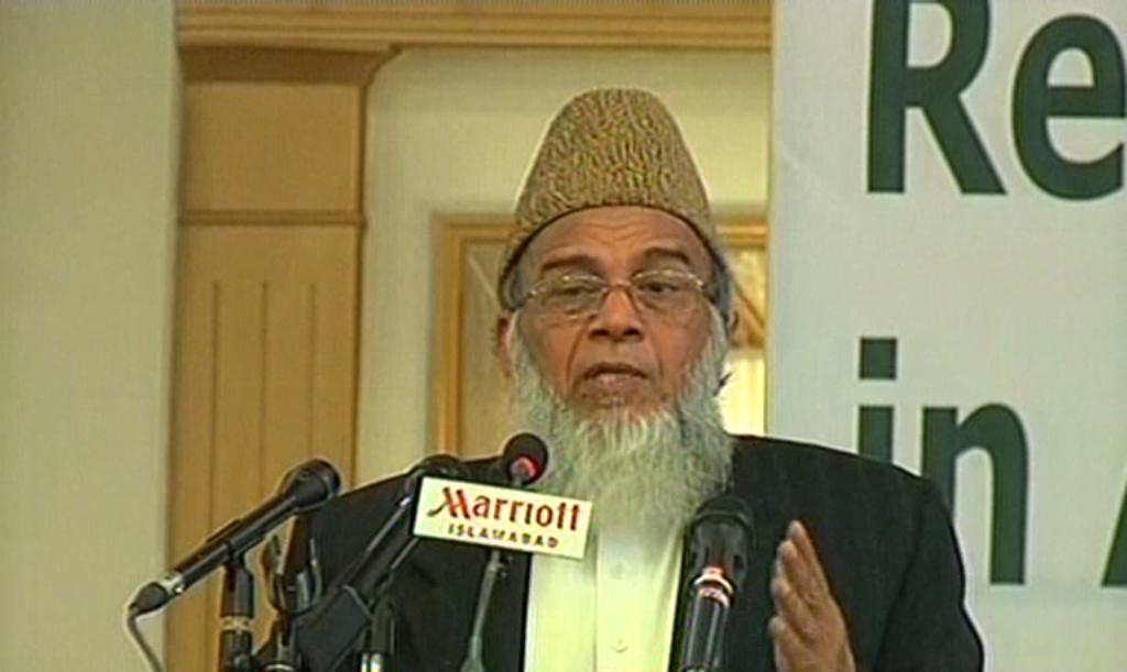 Express News screengrab of the JI ameer Munawar Hasan.