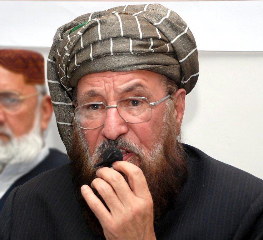 The head of his own faction of Jamiat-e-Ulema Islam, Maulana Samiul Haq. PHOTO: INP