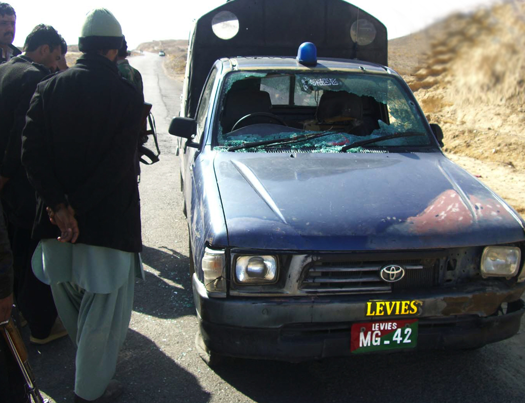 The levies vehicle which was allegedly escorting Colorado over the Mastung highway when it was attacked. PHOTO: EXPRESS/FILE
