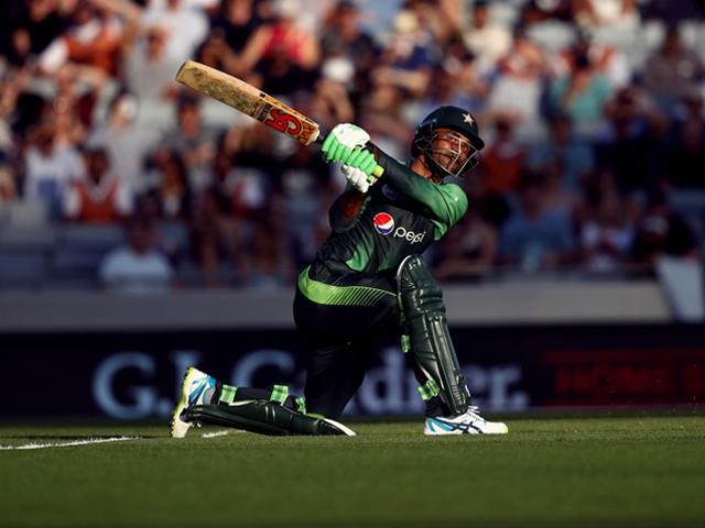 Fakhar Zaman made 50 off 28 balls, Pakistan v New Zealand, 2nd T20I, Auckland, January 25, 2017. PHOTO: GETTY